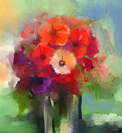 still life flowers: Abstract Oil paintings a bouquet of gerbera flowers in vase. Still life of red color flower with soft green and blue color background. Hand Painted floral abstract art painting style Stock Photo