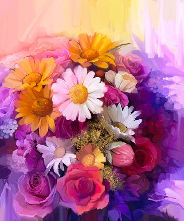 노랑, 빨강과 핑크 색상의 꽃의 아직도 인생. 유화 - 장미, 데이지와 거베라 꽃의 화려한 꽃다발입니다. 핸드 페인트 꽃 인상파 스타일.
