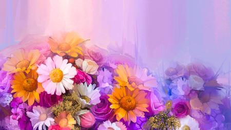 pâquerette: Nature morte de jaune, rouge et rose fleur de couleur. Peinture à l'huile - bouquet coloré de rose, marguerite gerbera et fleurs. Peinture à la main de style impressionniste floral. Banque d'images