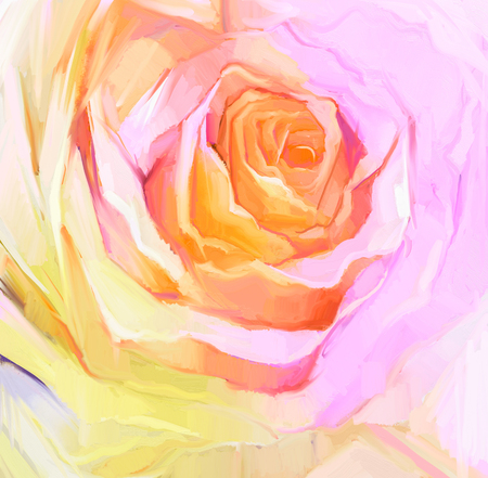 oil color: Oil Painting Close up of white rose.  Hand Painted petals floral. Still life of white color flower, create image in soft  pink and yellow color Stock Photo