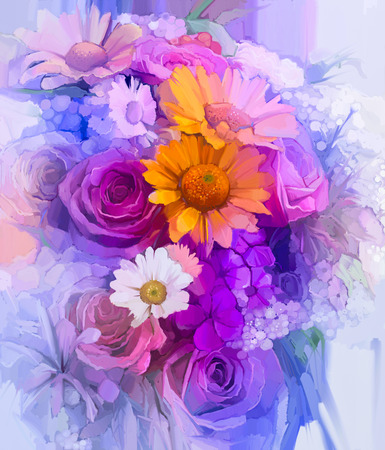 pintura abstracta: La naturaleza muerta de color amarillo, rojo y rosa flor de color. Pintura al �leo - Ramo colorido de rosas, margaritas y flores de gerbera. Pintura de la mano estilo impresionista floral.