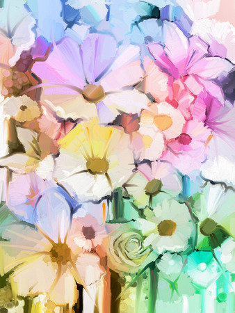 colorful still life: Oil Painting Soft colorful Bouquet of rose, daisy, lily and gerbera flower. Hand Painted floral, Still life of white color flowers with soft pink and purple background.