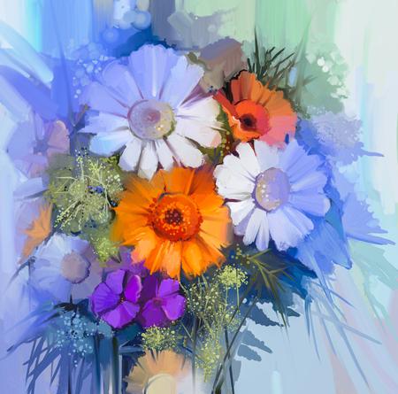 pâquerette: Nature morte de jaune, rouge et rose fleur de couleur. Peinture à l'huile - bouquet coloré de marguerite gerbera et fleurs. Peinture à la main de style impressionniste floral.