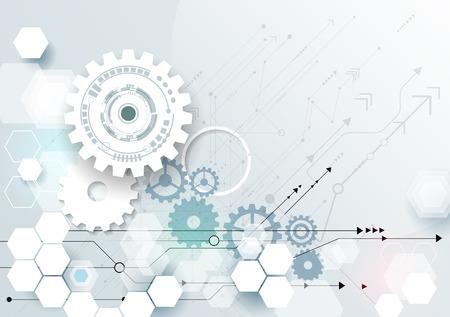 Vector ilustración rueda de engranaje, hexágonos y placa de circuito, la tecnología digital de alta tecnología y la ingeniería, digital concepto de la tecnología de las telecomunicaciones. Futurista abstracto en fondo azul claro del color Ilustración de vector