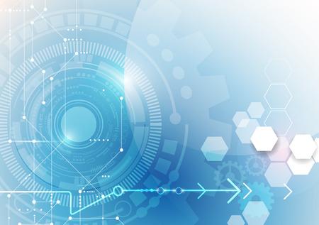 Vector illustration roue dentée, boule d'oeil, hexagones et carte de circuit, la technologie numérique Salut-tech et de l'ingénierie, le concept de la technologie des télécommunications numériques. Résumé futuriste sur fond de couleur bleu clair