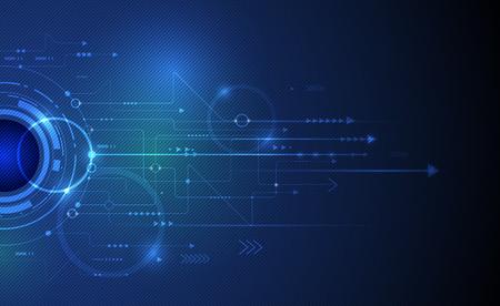 innovación: Ilustración vectorial Resumen globo ocular futurista en la placa de circuito, la mejor tecnología del ordenador del color verde y azul de fondo