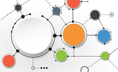 research: Moléculas abstractas y tecnología de la comunicación con los círculos integrados con el espacio en blanco para su diseño. Vector ilustración del concepto de medios de comunicación social a nivel mundial. Luz de fondo de color gris. Vectores