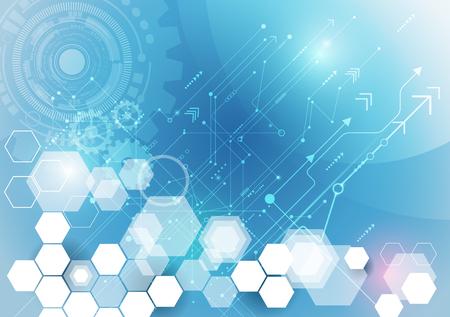 Vector ilustración rueda de engranaje, bola del ojo, hexágonos y placa de circuito, la tecnología digital de alta tecnología y la ingeniería, digital concepto de la tecnología de las telecomunicaciones. Futurista abstracto en fondo azul claro del color