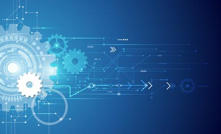 テクノロジー: 回路基板、ハイテク デジタル技術のベクトル図の白い歯車と工学、デジタル通信の技術の概念、抽象的な未来テクノロジーの青い色の背景に