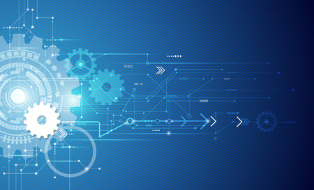 telecoms: Illustrazione ingranaggio bianco ruota sul circuito, la tecnologia digitale alta tecnologia e l'ingegneria, digitale concetto di tecnologia delle telecomunicazioni, Tecnologia astratta futuristic- su sfondo di colore blu