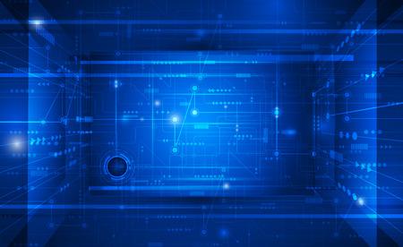 tecnología informatica: Ilustración vectorial placa de circuito futurista abstracto, la mejor tecnología del ordenador sobre fondo azul oscuro color. Concepto de alta tecnología de la tecnología digital