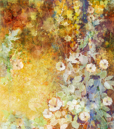 Watercolor painting white flowers and soft green leaves. Yellow-brown color texture on grunge paper background. Vintage painting flowers style in soft color and blur background for your design Stock Photo