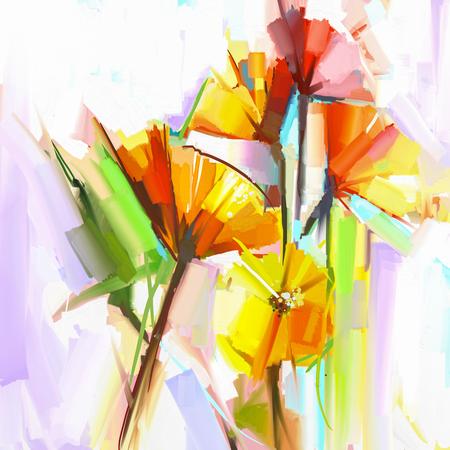 Abstracte olieverfschilderij van de lente bloemen. Stilleven van gele en rode gerbera bloemen. De hand geschilderde bloemen impressionistische stijl Stockfoto