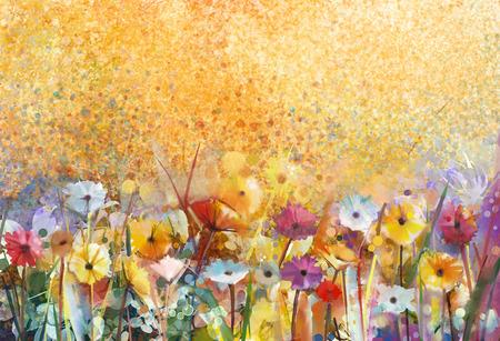 수채화 그림 꽃과 부드러운 녹색 잎. 그런 지 종이 배경에 노란색 - 갈색 색상 질감입니다. 디자인을위한 부드러운 색상과 흐림 배경 빈티지 그림 꽃 스