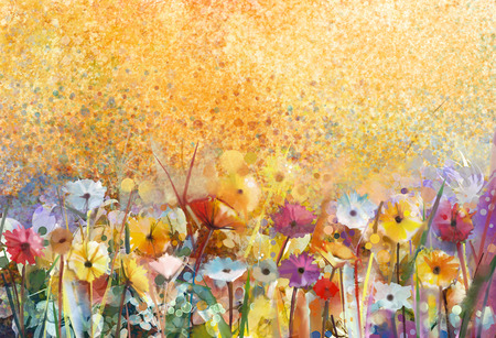 painting art: Watercolor painting flowers and soft green leaves. Yellow-brown color texture on grunge paper background. Vintage painting flowers style in soft color and blur background for your design