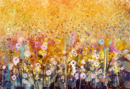 絵画水彩画赤いケシ花。花の柔らかい色にペイントし、ぼかしスタイル、ソフト グリーン、pupple の背景。春、花の季節の自然の背景 写真素材