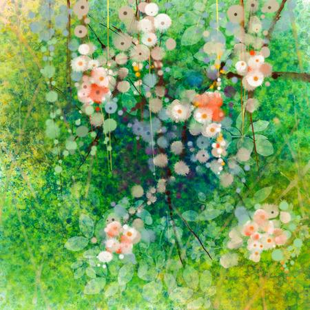 pintura abstracta: Flores de la pintura de la acuarela y hojas verdes suaves. Textura de color amarillo-verde en el fondo del papel del grunge. Vintage estilo de flores de pintura en el color y el desenfoque de fondo suave para su dise�o