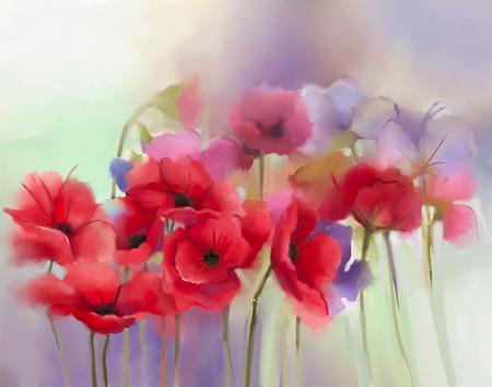추상: 수채화 빨간 양 귀 비 꽃 그림입니다. 부드러운 색상과 흐림 스타일, 부드러운 녹색 및 pupple 배경에 꽃 페인트. 봄 꽃 계절 자연 배경