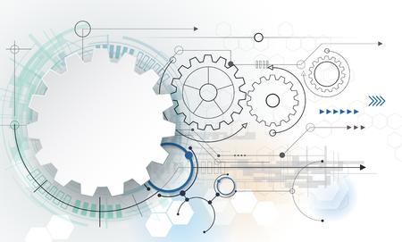 Wektor futurystyczna technologia, 3d biały papier na koło zębate płytce. Ilustracja hi-tech, technika, koncepcja telekomunikacja cyfrowa. Z miejsca na treści, WEB- szablonu, biznes tech prezentacji