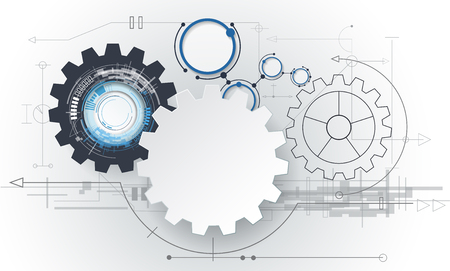 Vector abstract futuristic, 3d white paper gear wheel on circuit board. Illustration hi-tech, engineering, digital telecoms, technology concept with light grey color background