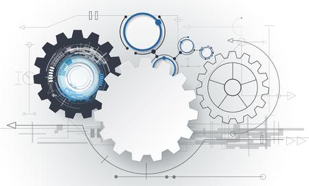 Vector abstract futuriste, 3d blanc roue dentée de papier sur circuit. Illustration de salut-technologie, de l'ingénierie, des télécommunications numériques, le concept de la technologie avec la lumière gris fond