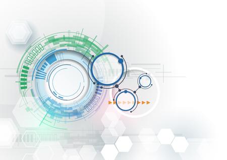 Ilustración vectorial de alta tecnología de ingeniería de la tecnología digital. Integración y el concepto de la innovación tecnológica. Futurista abstracto en el fondo de color claro para la plantilla de diseño, presentación tech negocio