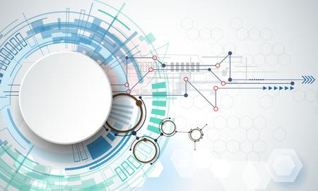 기술: 벡터 일러스트 레이 션 공학 기술. 콘텐츠, 네트워크, 웹 - 템플릿 디자인, 비즈니스 기술 프리젠 테이션을위한 3D 종이 라벨 원과 공간과의 통합과 혁신 일러스트