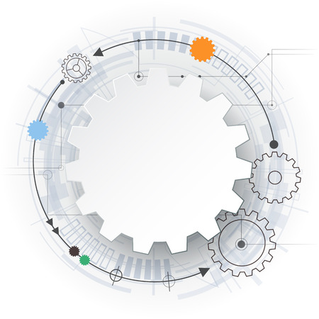 Vector futuristic technology, 3d white paper gear wheel on circuit board. Illustration hi-tech, engineering, digital telecoms concept. With space for content, web- template, business tech presentation