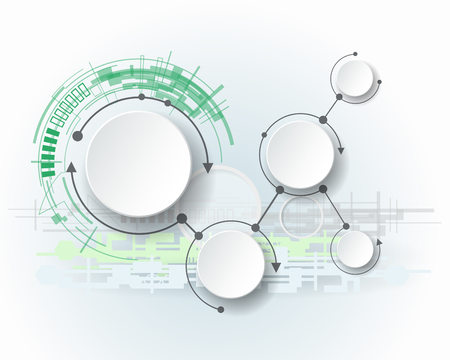 Abstract molecules with 3d paper circle and blank space for your content, infographic template, communication, business, network and web design. Vector illustration social media technology concept Vectores