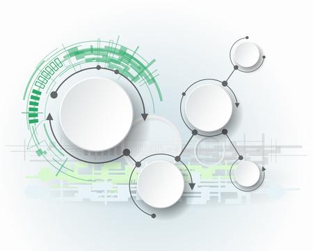 medios de informaci�n: Mol�culas abstractas con 3d c�rculo de papel y el espacio en blanco para su contenido, plantilla infograf�a, la comunicaci�n, los negocios, la red y el dise�o web. Ilustraci�n vectorial concepto de la tecnolog�a de medios sociales