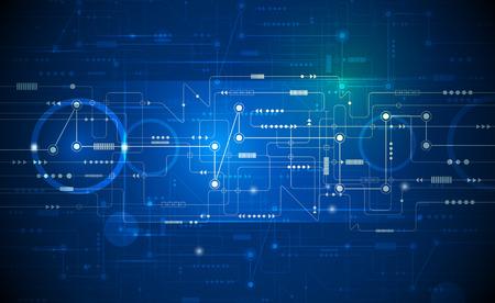 sonido: Ilustración vectorial Resumen globo ocular futurista en la placa de circuito, la mejor tecnología del ordenador del color verde y azul de fondo