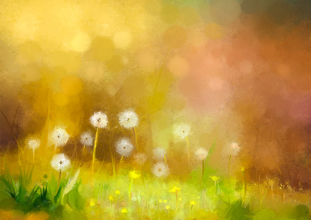 Oil painting nature grass flowers. Hand paint close up dandelions, pastel floral and shallow depth of field. Blurred nature background.Spring flowers background with bokeh