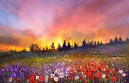 油絵ケシ、フィールドにタンポポ、デイジーの花。ワイルドフラワー、ヒル、オレンジと青のバイオレット色の背景の空と夕日の草原風景。ハンド