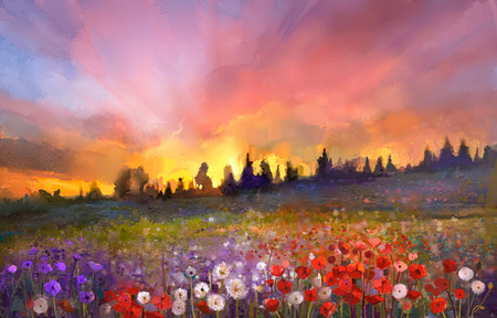 cuadros abstractos: Amapola Pintura al óleo, diente de león, flores de margarita en campos. Sunset paisaje prado con flores silvestres, colina, cielo de color naranja y azul de fondo de color violeta. Mano de pintura verano estilo impresionista floral
