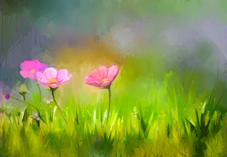 Oil painting nature grass flowers. Hand paint close up pink cosmos flower, pastel floral and shallow depth of field. Blurred nature background. Spring flowers nature background