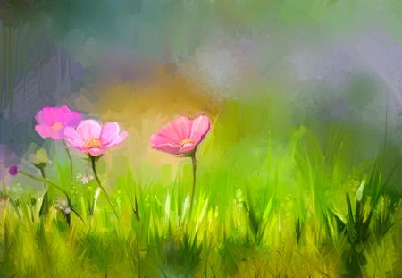 Olieverfschilderij natuur gras bloemen. Hand verf close-up roze kosmos bloem, pastel bloemen en ondiepe scherptediepte. Wazig aard achtergrond. Lente bloemen aard achtergrond