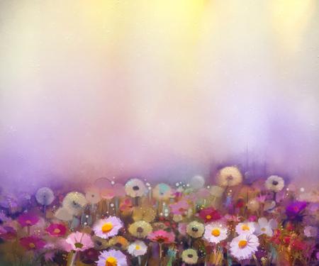 champ de fleurs: Peinture à l'huile de fleurs de pissenlit, pavot, marguerite, bleuet dans les champs. Main champ de fleurs sauvages de peinture dans le pré d'été. Printemps caractère saisonnier floral avec du jaune et le violet en douce couleur de fond