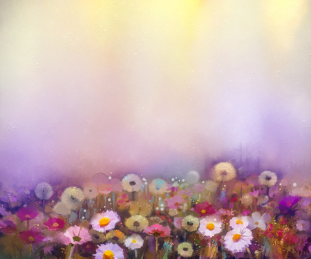 campo de flores: Pintura al óleo flores de diente de león, amapola, margarita, harina de maíz en los campos. Campo de los Wildflowers pintura de la mano en la pradera de verano. La primavera de flores de temporada con la naturaleza amarilla y violeta en el fondo de color suave