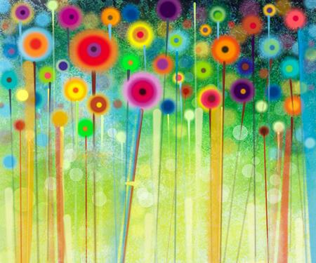 추상: 추상 꽃 수채화 그림. 손 녹색 배경에 부드러운 컬러로 노란색과 붉은 꽃을 그렸다. 초원에서 추상 꽃 그림. 봄 꽃 계절 자연 배경