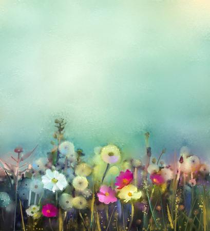 flowers: Aceite de la pintura de flores de diente de león, amapola, margarita en campos. Campo de los Wildflowers pintura de la mano en la pradera de verano. Primavera naturaleza estacional de flores con azul - verde en el fondo de color suave. Foto de archivo