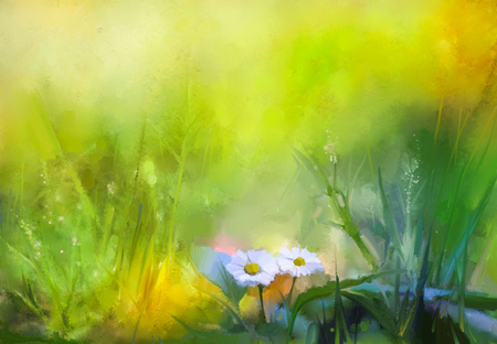 Olieverfschilderij, natuur, groen gras bloemen planten. Hand verf margriet, pastel bloemen en ondiepe scherptediepte. Wazig witte bloemen planten natuur achtergrond. Lente bloemen aard achtergrond