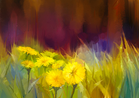 Oil painting nature grass flowers. Hand paint close up yellow dandelions, pastel floral and shallow depth of field. Blurred nature background. Spring flowers nature background