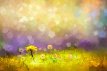 Olieverfschilderij natuur gras bloemen. Hand verf close up gele paardebloemen, pastel bloemen en ondiepe scherptediepte. Wazig natuur background.Spring bloemen achtergrond met bokeh