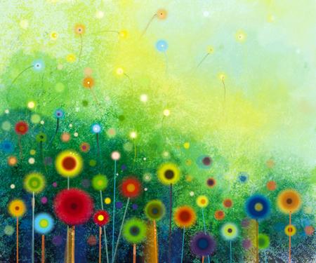 抽象的な花の水彩画。手描きのグリーン色の背景上の柔らかい色に黄色と赤の花。牧草地の花の絵を抽象化します。春の花、季節の自然の背景