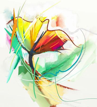 Abstraktes Ölgemälde von Frühlingsblumen. Stillleben von gelben und roten Farbe flowe. Abstrakte moderne Impressionisten. Blumen-Kunst-Malerei. Blumen Dekorative Malerei