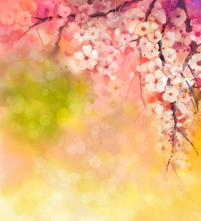 fleur de cerisier: Aquarelle de Cerisiers - cerisier japonais - Sakura floral en couleur douce plus floue la nature de fond. Printemps de fleurs de saison fond de la nature avec bokeh Banque d'images