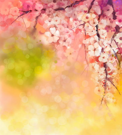 estaciones del a�o: Pintura de la acuarela Flores de cerezo - cerezo japon�s Sakura - flores en color suave sobre la naturaleza de fondo borroso. Flor de primavera la naturaleza de fondo de temporada con el bokeh Foto de archivo