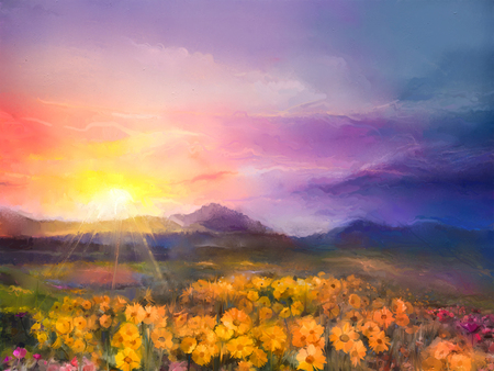 abstract painting: Oil painting yellow- golden daisy flowers in fields. Sunset meadow landscape with wildflower, hill and sky in orange and blue violet color background. Hand Paint summer floral Impressionist style