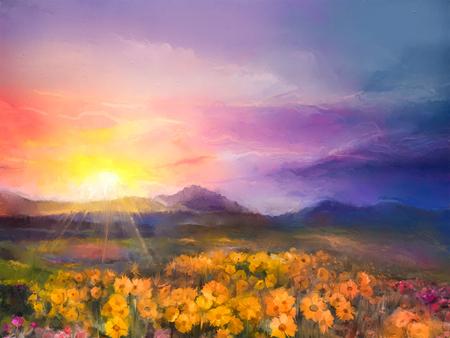 Olieverfschilderij geel- gouden daisy bloemen in de velden. Sunset weide landschap met wilde bloemen, de heuvel en de hemel in oranje en blauwe violette kleur achtergrond. Hand Paint de zomer bloemen impressionistische stijl Stockfoto