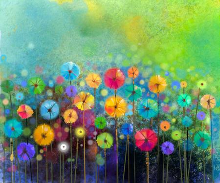 추상 꽃 수채화 그림. 손 녹색 배경에 부드러운 컬러로 노란색과 붉은 꽃을 그렸다. 초원에서 추상 꽃 그림. 봄 꽃 계절 자연 배경